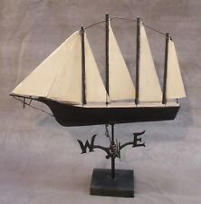 Antique Painted Sheet Metal Schooner Tall Ship Weathervane