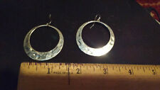 Silver Tone Dangle Hammered Hoops