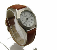 """PCA 9.5"""" Watch White Face w/ Black Roman Numerals Leather Band Analog WORKS"""