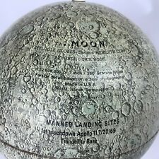 "Replogle 6"" Metal Lunar Moon Globe Apollo 11 1st Touchdown Tranquility Base dent"