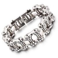 14/19MM Men's Chain Black Silver Tone 316L Stainless Steel Biker Link Bracelet