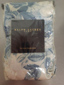 Vintage Ralph Lauren Home Elsa Blue NOS King Ruffled Pillow Shams-Two Available