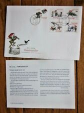 Sweden Christmasn Gnomes Holiday Chores 5 Stamp Set 2004 Fdc+Info Sheet