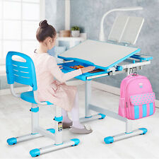 Height Adjustable Kids Study Desk Chair Set Children Table w/Lamp+Drawer Blue