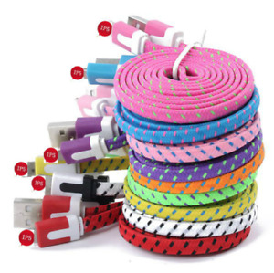 USB Cable Charger Cord Flat Braided Lot For Phone 12, 11, X, 8, 7, 6, 5