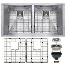 "32"" x 18"" x 9"" Stainless Steel Undermount 50/50 Double Kitchen Sink Drain Set"