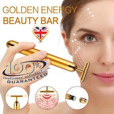 DERMA ROLLER 24k GOLD BEAUTY BAR Facial Massage Skin Lifting Wrinkle Skincare uk