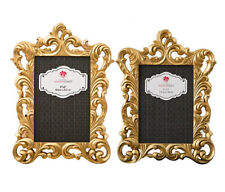 Mozlly Fashioncraft Gold Metallic 4 x 6 and 5 x 7 inch Baroque Photo Frames (2 I