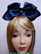 navy blue Handmade Big huge Girl Extra Large Boutique JUMBO Satin clip Hair Bow