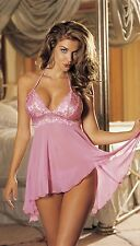 Pink Chiffon & Lace Halter Baby Doll Bow Tie Back G-string Large Shirley 20258