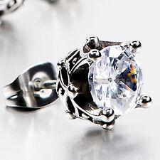 silver stud stainless steel crystal SINGLE vintage style earring 7mm