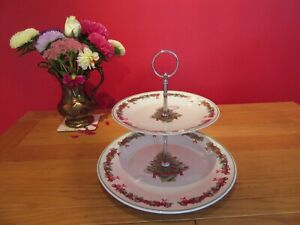 Lovely china  Christmas Tree & Garlands Christmas 2 Tier Cake  stand