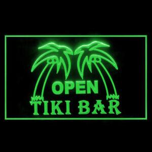 170010 OPEN Tiki Bar Pub Plam Tree Mobile Party Display LED Light Neon Sign