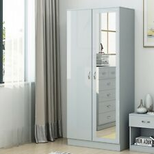 Grey High Gloss 2 Door Mirrored Wardrobe Bedroom Furniture. Matt Frame.