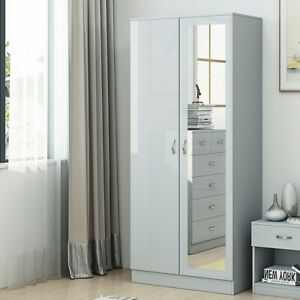 Grey High Gloss 2 Door Mirrored Wardrobe Bedroom Furniture. Matt Frame.