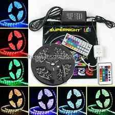 SUPERNIGHT® 5M 5050 SMD RGB 300 LED Strip Light Black PCB/Remote/Power Supply