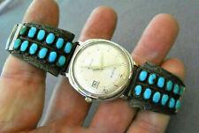 MARYANN & FELIX CHAVEZ  Zuni Turquoise Cluster Sterling Silver Watch Bracelet