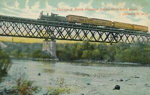 JANESVILLE WI - Chicago & North-Western Bridge Over Rock River - 1912