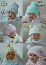 Baby KNITTING PATTERN Easy Knit Selection of Babies Hats Chunky King Cole 3391