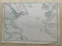 1859 North Atlantic Ocean Beautifully Hand Coloured Antique Map by W.G. Blackie