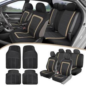 BDK Standard Black/Beige Mesh Panel Seat Covers + Rubber Car Floor Mats