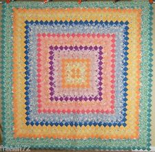 Beautiful Vintage 30's Trip Around the World Postage Stamp Antique Quilt ~Mint!