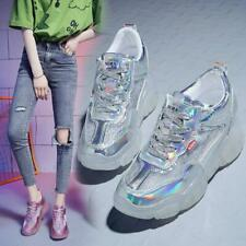 Womens Breathable Patent Leather Chic Sneaker Platform Wedge Sport Sandals Shoes