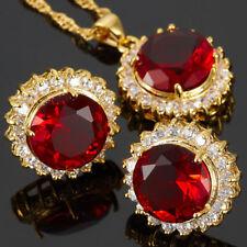 Red Garnet Round Cut Necklace Pendant Earrings Gemstone 18K Gp Jewelry Set