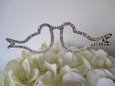 Love Birds Silver Rhinestone Wedding Cake Topper Crystal Bridal Decoration