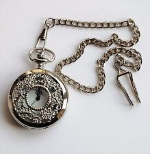 "Men's Pocket Watch. Filigree Design with Silver Coloured 14"" chain and clip."