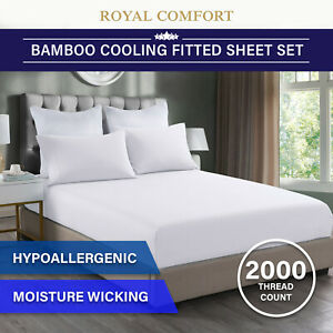 Royal Comfort 2000TC 3 Piece Fitted Sheet and Pillowcase Set Bamboo Cooling