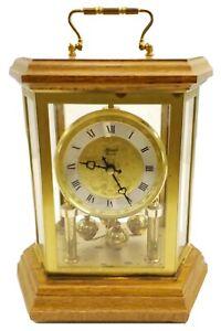 Hermle Quartz Hexagon Mantle Clock Anniversary Clock Wood Brass Made in Germany