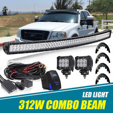 "54"" Inch 312W Curved LED Light Bar +2x Cube Pods +Wiring FIT Ford F150 2004-2014"