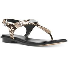 NIB Size 6 Michael Kors Plate Leather Thong Sandals Natural