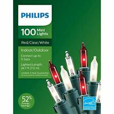 Philips 100 Mini Lights: RED, CLEAR, WHITE multi colors Christmas, NEW