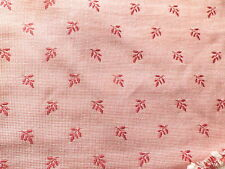 Vintage Pink White Cotton Brocade Interiors Upholstery Fabric Leaf Design