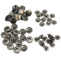 50 Pcs 13mm Black Snap Fastener Press Buttons Sewing Leather Craft Clothes Bags