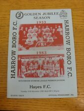 13/12/1983 Harrow Borough v Hayes  (folded). Condition: We aspire to inspect all