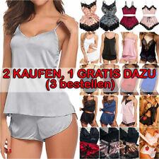 Damen Sexy Spitze Satin Pyjama Set Nachtwäsche Dessous Negligee Nachthemd Neu