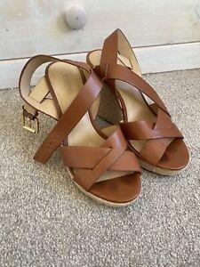Michael Kors Beige & Tan Leather Wedge Wedges Heels  US 6.5 Approx UK 4