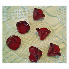 Ruby Red Flower Beads Czech Glass