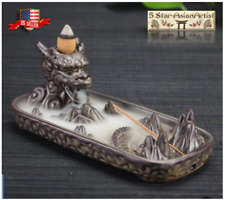 Ceramic Backflow Incense Burner Dragon Mountain Waterfall J001 & 10 Cones Gift