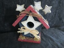 RED, WHITE AND BLUE, STARS WOOD BIRD HOUSE DECOR FLAG 5""