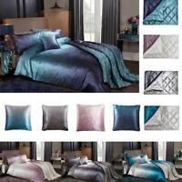 Ombre Duvet Cover Double King Size Luxury Crushed Velvet Bedding Set Pillowcases