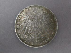 3 Mark 1910 Hamburg Wappen Adler Silber