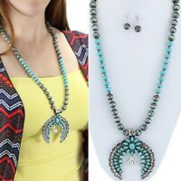 "Blue Silver Squash Blossom 32"" Necklace Western Chic Cowgirl Gypsy Rodeo"