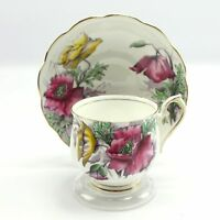Royal Albert Poppy #8 Flower of the Month Teacup & Saucer Bone China England