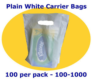 """Plain White Carrier Bags 15 x 18 + 3""""  """"Record Shop Bags"""" - Free Delivery"""