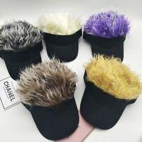Men Women Baseball Outdoor Sport Golf Hat Cap Sun Visor Wig Hat Fake Flair H #ev