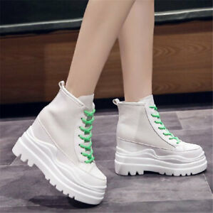 Women Combat Military Platform Wedge Ankle Boots High Heel Fashion Sneaker Shoes